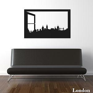 London Skyline Window Silhouette Wall Sticker - wall stickers