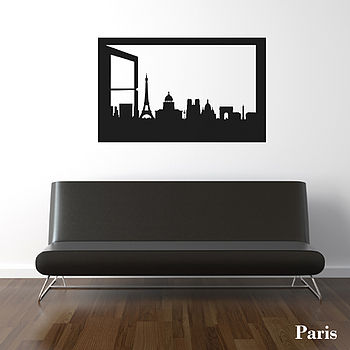 Paris Skyline Window Silhouette Wall Sticker