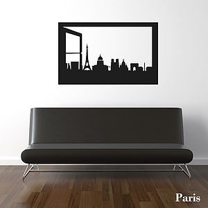 Paris Skyline Window Silhouette Wall Sticker - decorative accessories