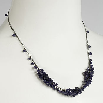 Sapphire triple cluster necklace 1