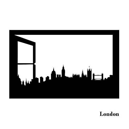 London Skyline Window Silhouette Wall Sticker By Spin Collective