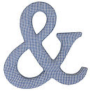 Blue gingham ampersand