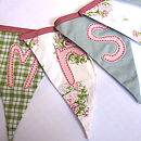Personalised bunting greens, pinks, teals 72 dpi