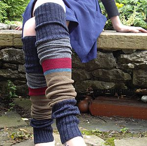 Handmade Stripy Legwarmers With Ribbon - socks