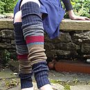Handmade Stripy Legwarmers With Ribbon