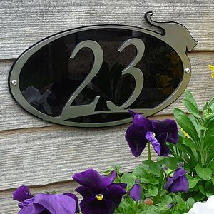 Stainless Steel Cat House Number Plaque - art & decorations