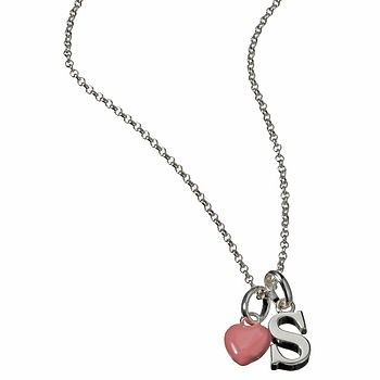 Pink Love Heart with Alphabet Initial S Necklace