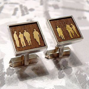 Square Figures on Wood Cufflinks - jewellery for men
