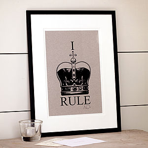 'I Rule' Personalised Crown Print - prints & art sale