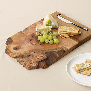 Burr Elm Cheeseboard With Knife - aspiring chef