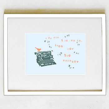 'Ignore The Rain' Print - Orange and Petrol Colours