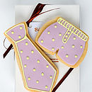 Tie & Boxer Biscuit Gift Set/Lilac/ Green Spots