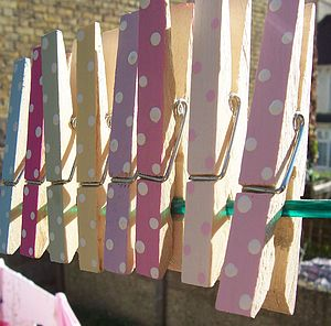 Handpainted Multi Colour Dotty Pegs Eight Pack - children's room