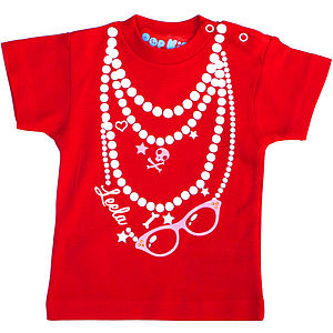Personalised Necklace T-Shirt - babies' tops