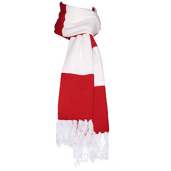 Red & White Deluxe Cashmere Football Scarf