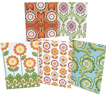 Pack of Five Retro Floral Greeting Cards
