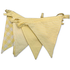 Shades Of Lemon Cotton Bunting - on trend: yellow & grey