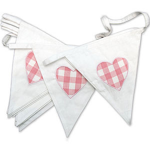 Pink Heart Cotton Bunting - outdoor decorations