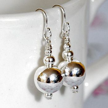 Polished Silver Ball Earrings