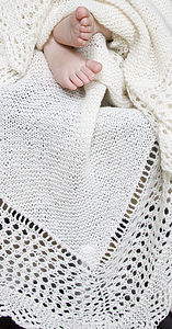 100% Cashmere Lacy Edge Christening Shawl - blankets, comforters & throws