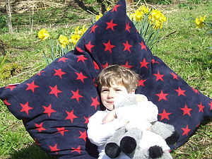 Large Navy And Red Star Cushion - living room