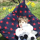 Large Navy And Red Star Cushion