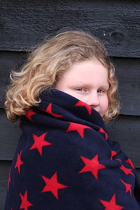 Navy And Red Star Fleece Rug - blankets, comforters & throws