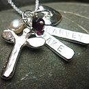Angel dedication necklace two names