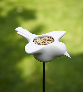 Ceramic Bird Feeder - sculptures & ornaments