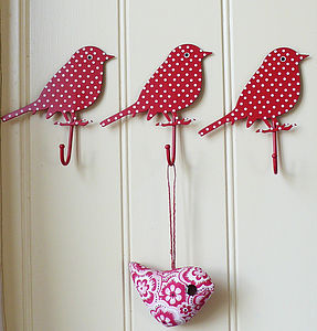 Red & Blue Spotty Bird Hooks - laundry room