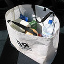 Recycled sailcloth shopper bag full of shopping