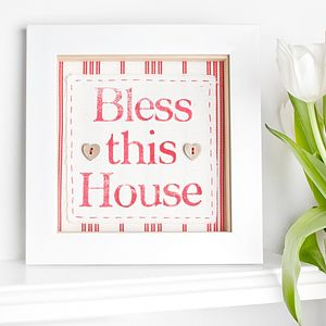 Vintage Stripe 'Bless This House' Fabric Print