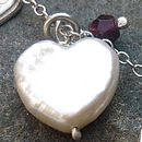 Pearl heart and garnet detail