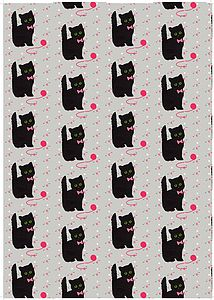 Betty Boyns The Cat Gift Wrap Set - ribbon & wrap