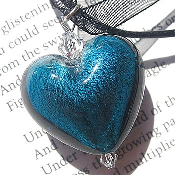 Foil Murano Glass Heart Pendants