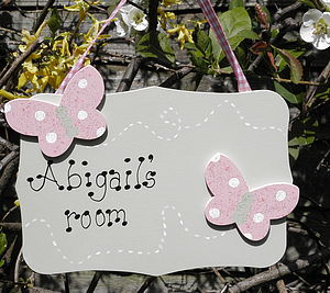Personalised Double Butterfly Door Sign - children's room accessories