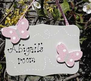Personalised Double Butterfly Door Sign - children's room accessories
