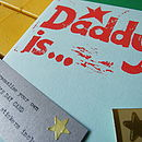 'Daddy is...' Personalise Your Own Father's Day Card in red on white card
