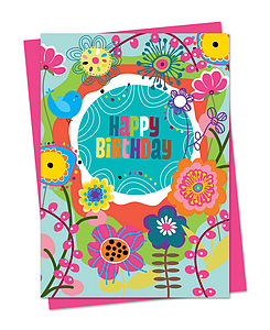 Bright Floral Birthday Card - birthday cards