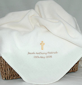 Embroidered Christening Blanket