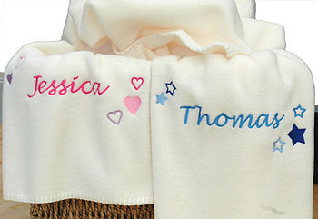 Personalised Stars And Hearts Baby Blanket