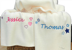 Personalised Stars And Hearts Baby Blanket - throws, blankets & fabric