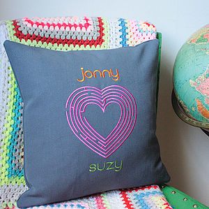 Personalised Heart Maze Cushion - bedroom