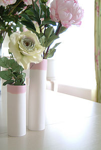 With Compliments - coloured tops - vases