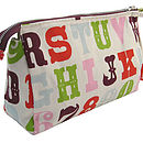 Alphabet wash bag side view