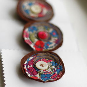 Handmade Linen And Liberty Print Brooch