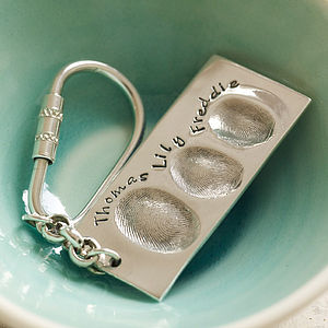 Personalised Silver Fingerprint Key Ring - for him