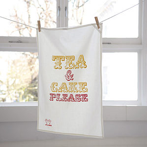 'Tea & Cake Please' Tea Towel - aspiring chef