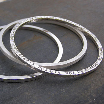 Chunky Silver Narrative Bangle