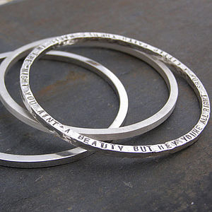 Chunky Silver Narrative Bangle - bracelets & bangles